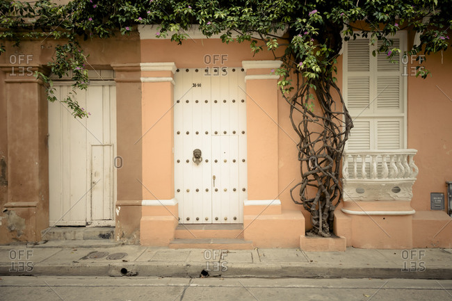 Facade of colonial house in Cartagena, Colombia