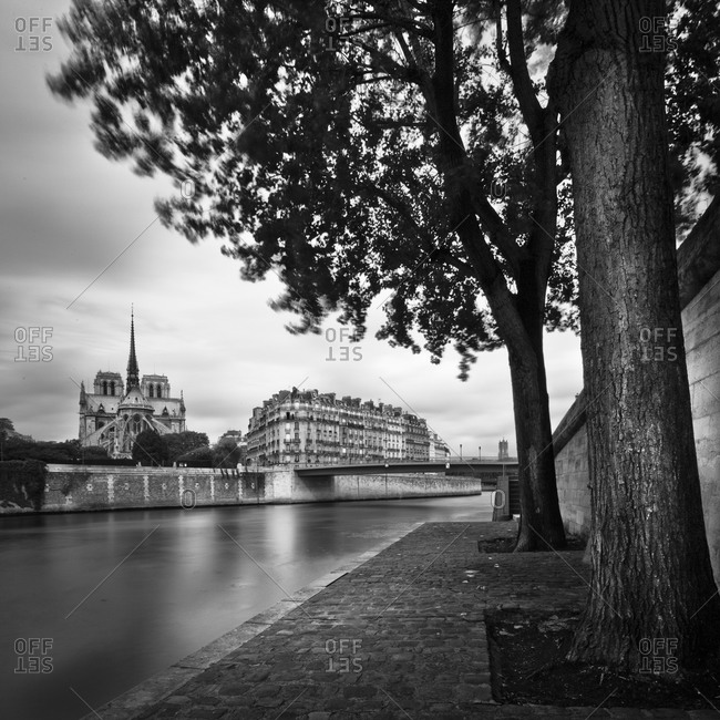 View of Ile Saint-Louis from the riverbank in Paris, France