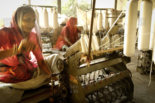 Indian women working in textile plant
