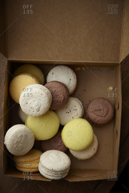 A box full of macaroons