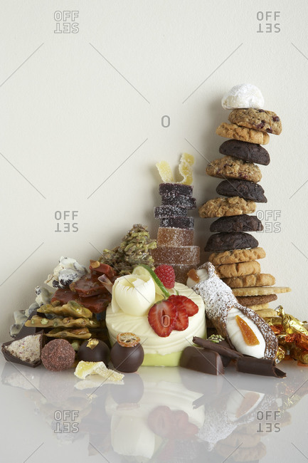 A pile of sweet desserts