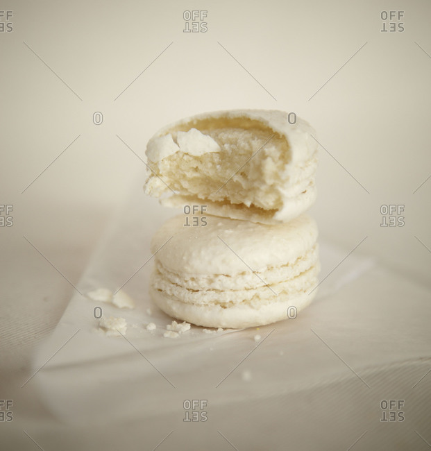 Two stacked vanilla macaroons