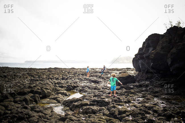 Young Caucasian children playing on seacoast at low tide