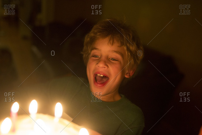 Young blond haired Caucasian boy blowing out candles on birthday cake