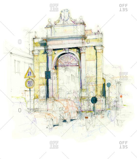 Drawing of Porta Nuova in Ravenna, Italy