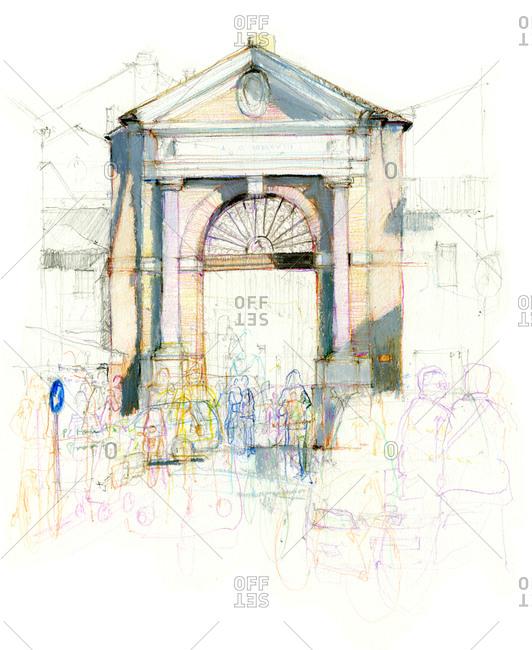 Drawing of Porta Sisi in Ravenna, Italy