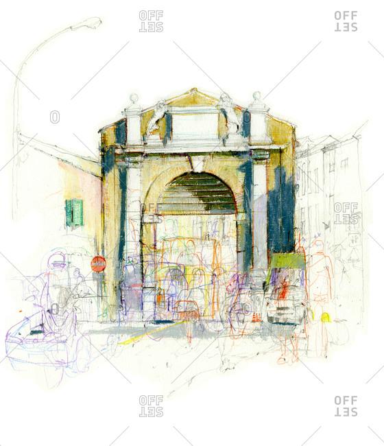 Drawing of Porta San Mamante in Ravenna, Italy