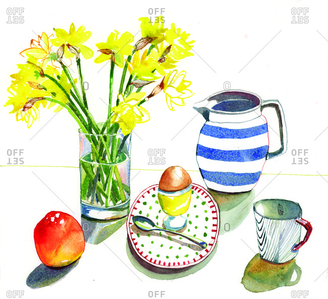 Delicious breakfast with yellow spring flowers