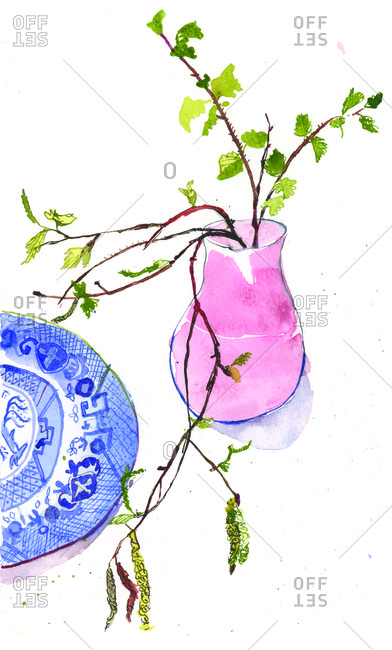 Plant in pink vase