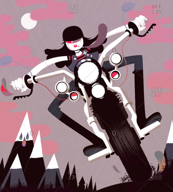Cool biker girl riding a motorcycle in the middle of the night