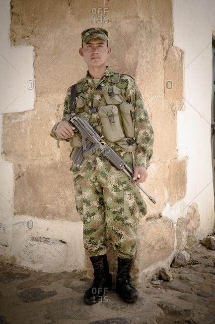 Portrait of a Colombian soldier in Villa de Leyva, Colombia
