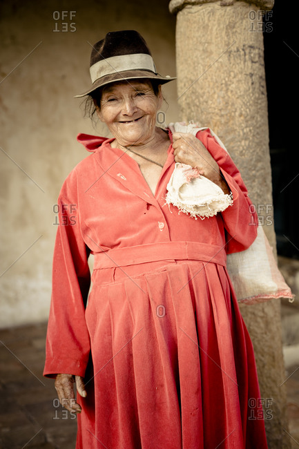 Portrait of old Colombian woman smiling