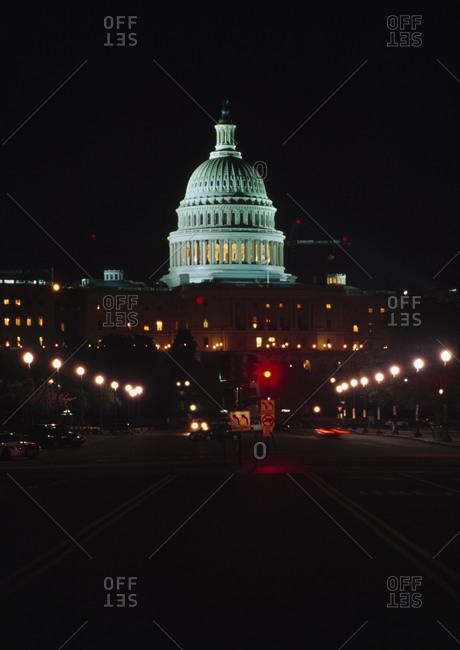 Capitol Building Illuminated At Night, Washington Dc, Usa