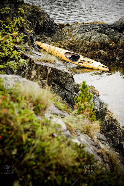 Sea Kayak on River\'s Edge, Nootka Sound, Vancouver Island, British Columbia, Canada