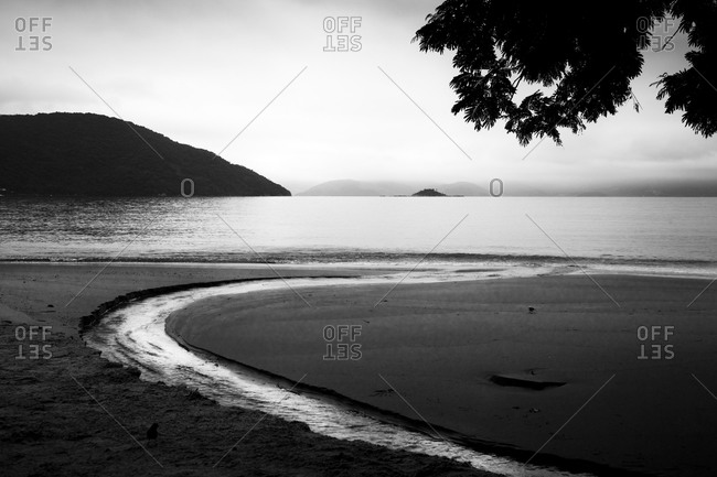 Beautiful black and white landscape at Ilha Grande, Brazil