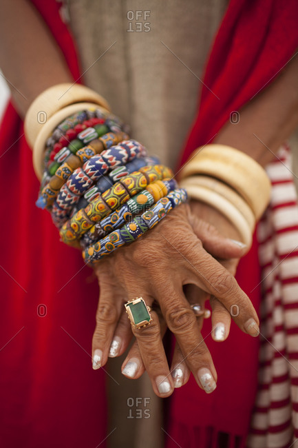 Close up of Mexican woman's hand in Todos Santos, Mexico