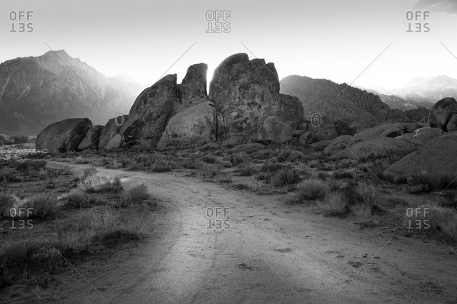 Road through Alabama Hills in California