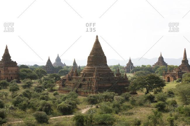 Overview of Buddhist Temples, Bagan, Myanmar, Burma