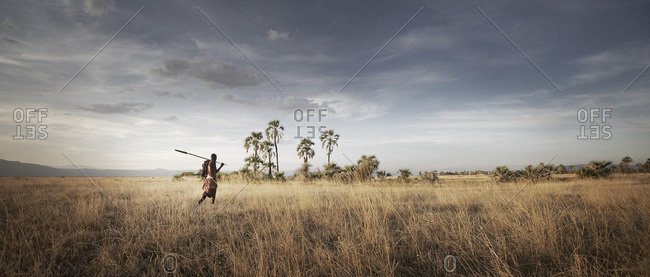 Masai Tribesman Hunting With Spear