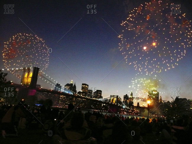Fireworks Over The Brooklyn Bridge And Manhattan Skyline For The 4Th Of July As Seen From The Brooklyn Bridge Park In Dumbo, Along The East River Waterfront