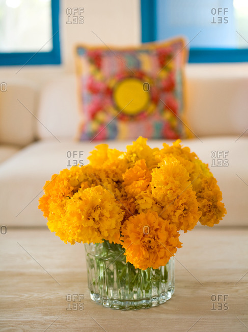 A vase of marigolds in Latin American domestic setting