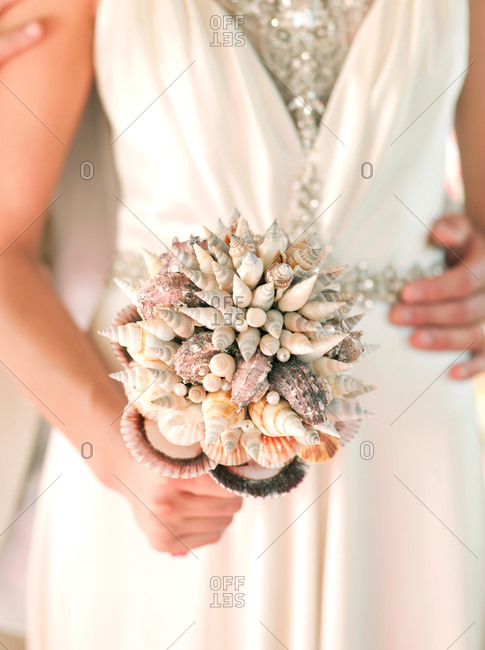 Bridal bouquet made from sea shells