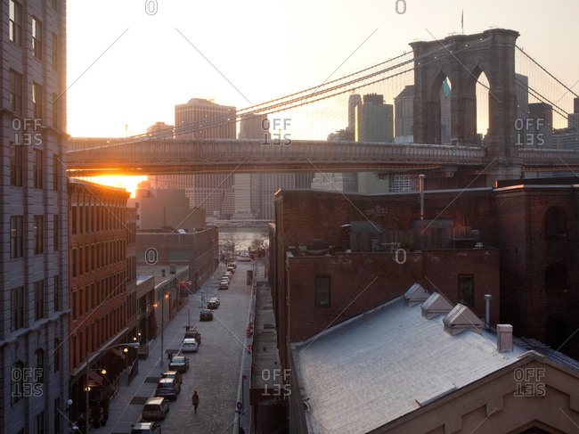 View of Water Street and Brooklyn Bridge during late afternoon