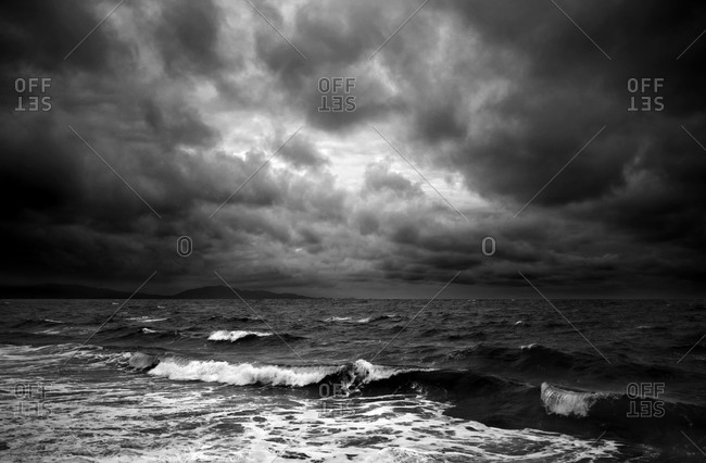 Black and white view of stormy seascape