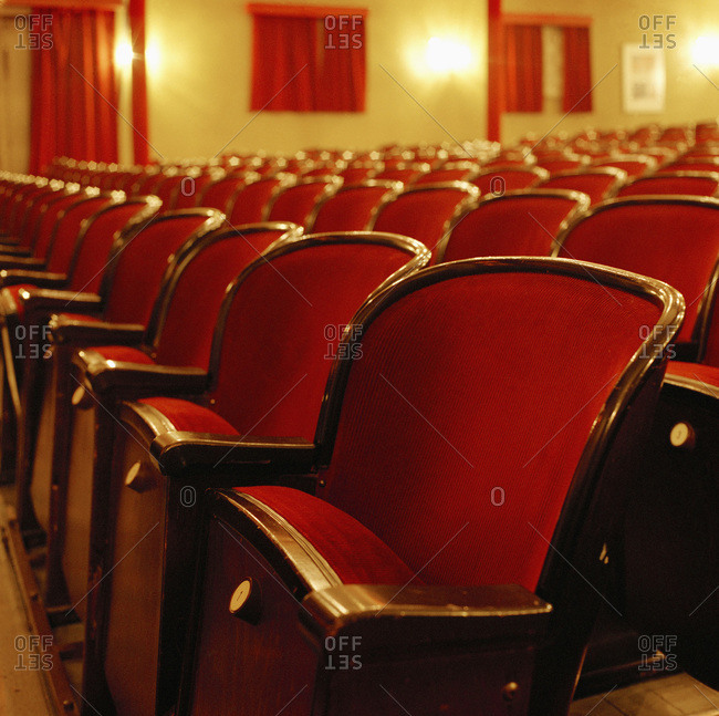 Rows of seats in a theater