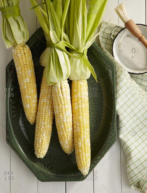Raw, organic corns overhead
