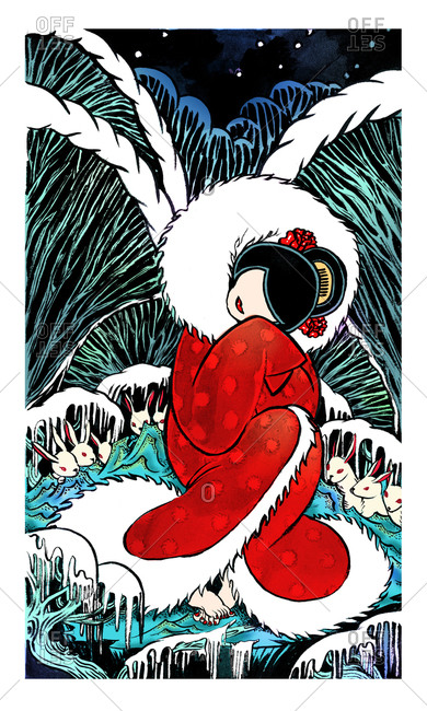 Faceless woman wrapped in a furry red robe sitting on ice