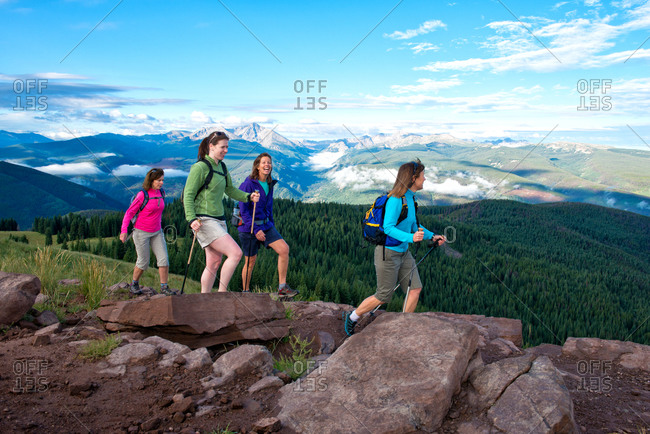 Group of women hiking - Offset