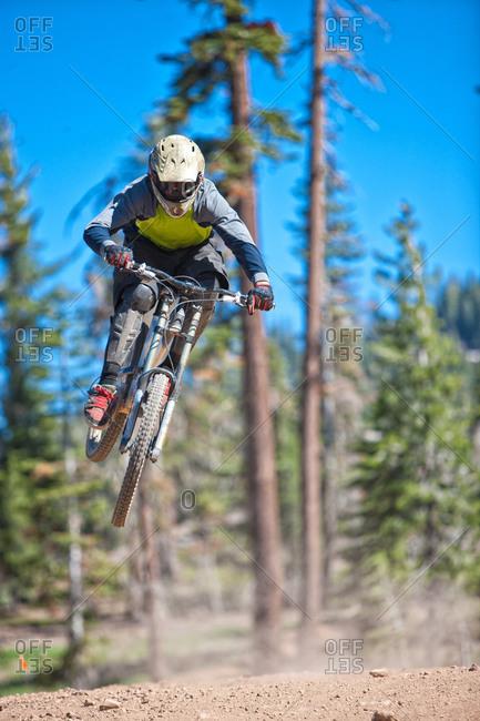 Man on dirt bike midair