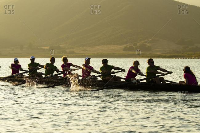 Men and women of the Lake Casitas Rowing Team work on some drills at Lake Casitas in Ojai, California.