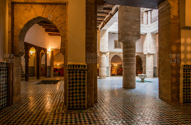 Moroccan style Riad with terra cotta tile-work covered with enamel