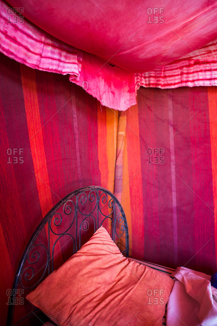 Detail of tent on pink color