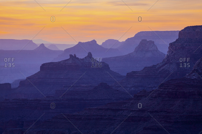 Geological rock formations at the grand canyon