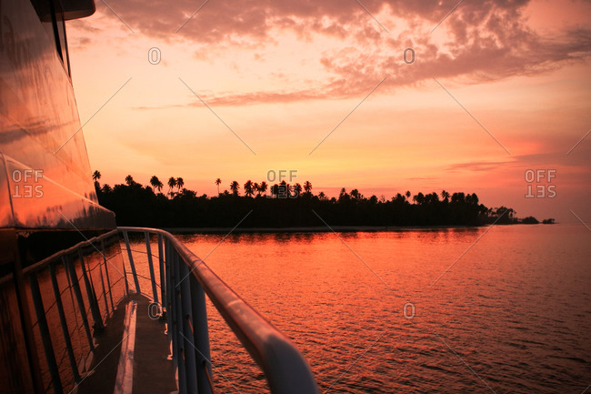 Silhouette of palm trees from a boat in Mentawai Islands, West Sumatra, Indonesia