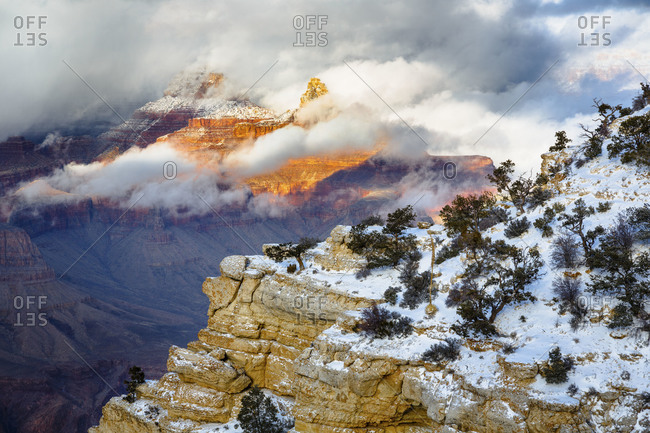 Brahma and Zoraster Temples in the clouds above the Grand Canyon