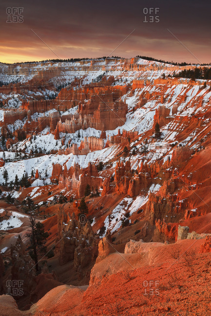 A winter sunrise at Bryce Canyon National Park in Utah