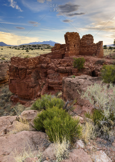 Lomaki Pueblo at Wupatki National Monument in northern Arizona The San Francisco Peaks are visible in the distance