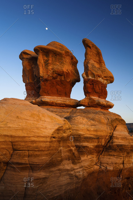 The moon rises above the Devil's Garden, Grand Staircase - Escalante National Monument