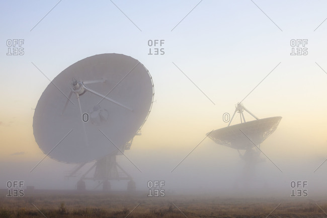 The National Radio Astronomy Observatory's 'Very Large Array' (VLA) in fog The Plains of San Agustin in southwestern New Mexico