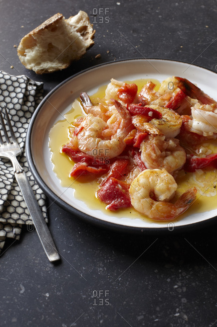 Shrimp ragout with sweet pepper served on a plate