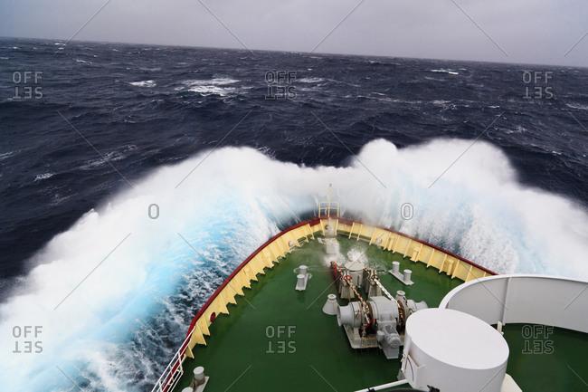 South Atlantic Ocean, Polar star icebreaker cruise ship with high swell 8 meter