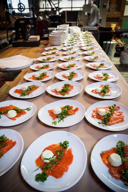 Rows of Sake Cured Chinook Salmon