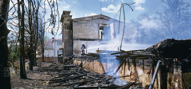 Czechia, View of burned house