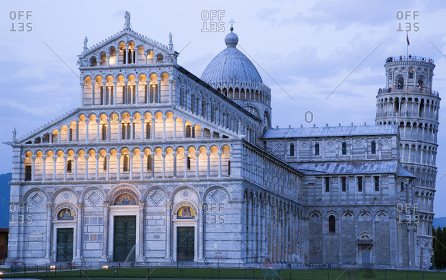Italy, Tuscany, Pisa, Piazza dei Miracoli, Square of Miracles, Cathedral and Leaning Tower,