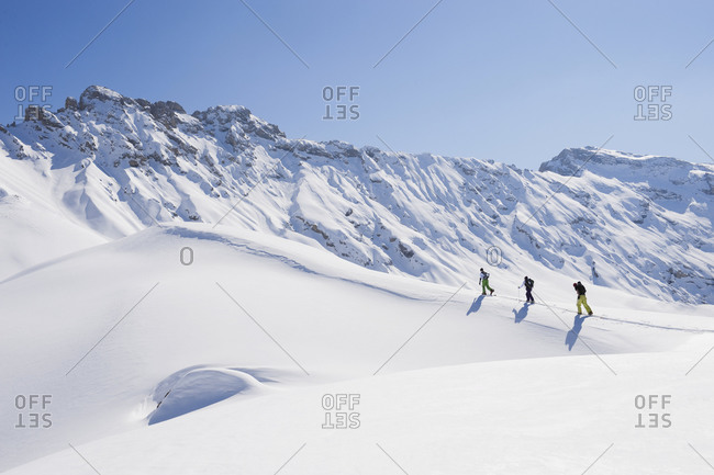Group of people on ski tour in Italy, Trentino-Alto Adige, Alto Adige, Bolzano, Seiser Alm,