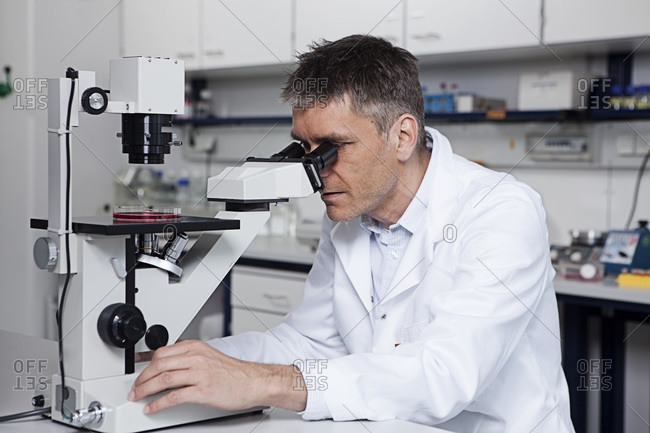Germany, Bavaria, Munich, Scientist with microscope in laboratory